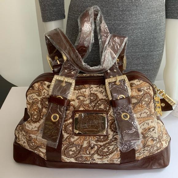 Charm and Luck Handbags - Charm and Luck Brown Leather And Fabric Handbag